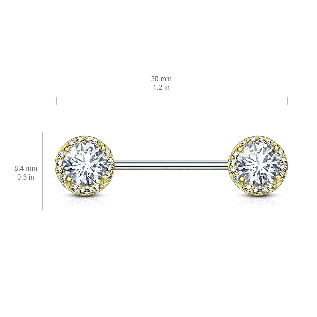 Nipple Ring. Belly Bars Australia. Argenti Crystal Diamond Nipple Jewellery in Gold