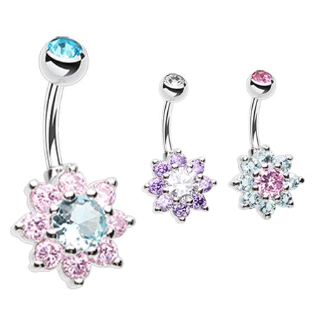 Pastel Crystal Flower Belly Rings - Fixed (non-dangle) Belly Bar. Navel Rings Australia.