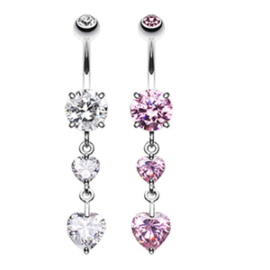 Dixi Crystal Heart Belly Ring - Dangling Belly Ring. Navel Rings Australia.