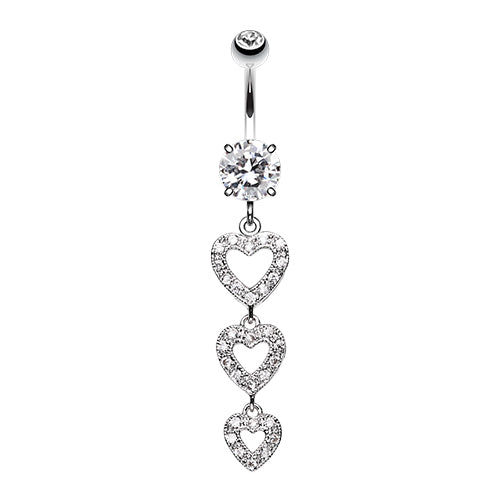 Shielded Heart Assembly Belly Ring - Dangling Belly Ring. Navel Rings Australia.