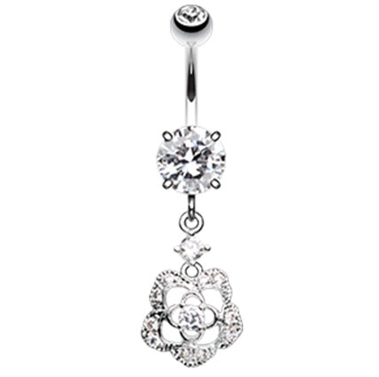 Antoinette Rose Belly Ring Dangle - Dangling Belly Ring. Navel Rings Australia.