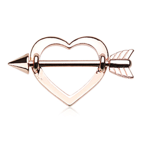 Nipple Ring. Cute Belly Rings. Cupid's Love Struck Heart Nipple Shield Ring in Rose Gold