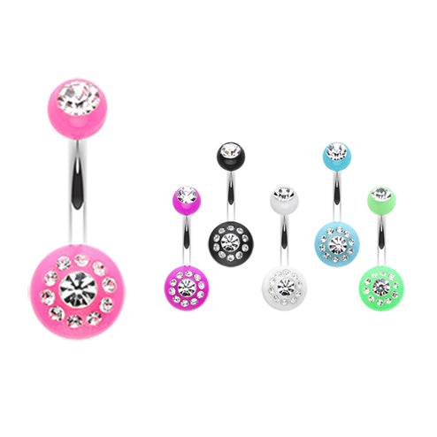 The Gem Dial Belly Bar - Fixed (non-dangle) Belly Bar. Navel Rings Australia.