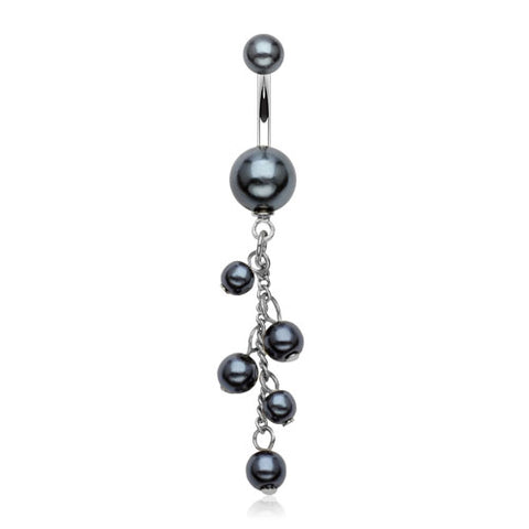 Black Sizeable Pearl Acrylic Dangle Belly Rings