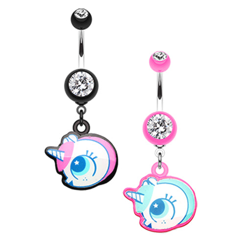 Baby Unicorn Belly Dangle - Dangling Belly Ring. Navel Rings Australia.