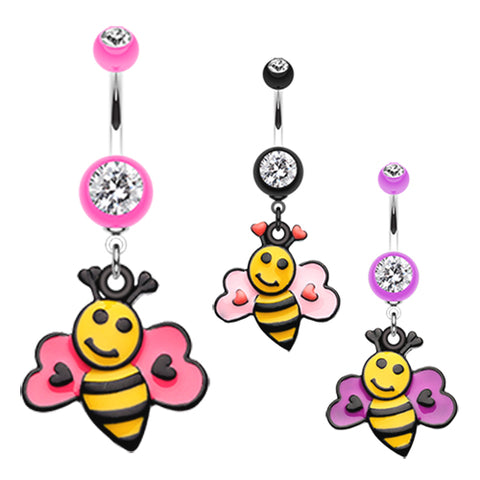 Dangling Belly Ring. High End Belly Rings. Bumbly Bee Lovin Belly Dangle