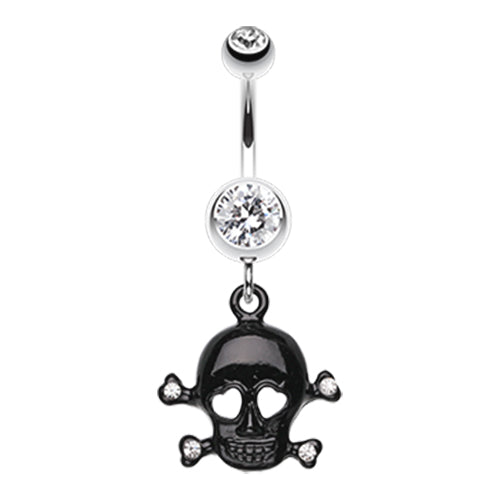 Dangling Belly Ring. Belly Bars Australia. Lovin' You to DEATH Skull Belly Bar