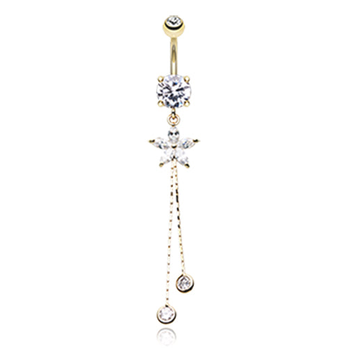 Bezelled Flower Chain Belly Dangle in Gold - Dangling Belly Ring. Navel Rings Australia.