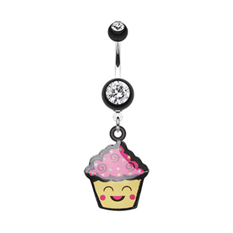 Dangling Belly Ring. Quality Belly Bars. Cute Giggly Cupcake Belly Bar