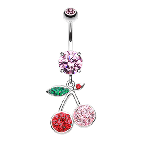 Dangling Belly Ring. Cute Belly Rings. Cute Rubicund Cherry Stem Belly Dangle
