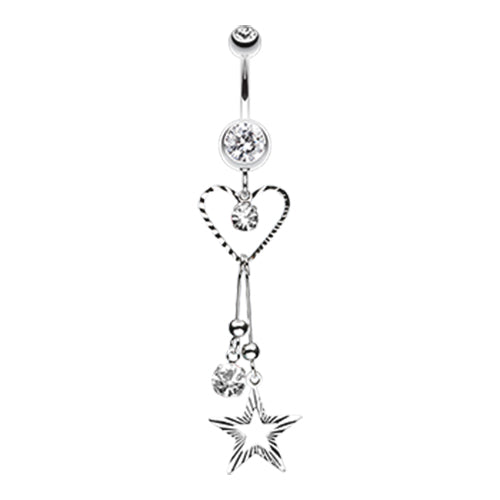 Dangling Belly Ring. Cute Belly Rings. Galaxy of Love Belly Dangle