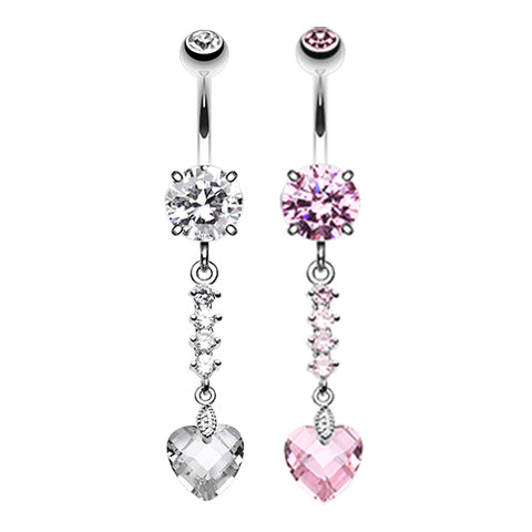 Dangling Belly Ring. High End Belly Rings. Crystal Heart Journey Navel Bar