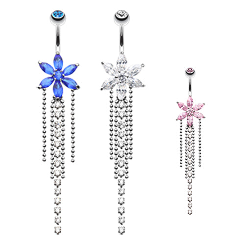 Crystal Bloom Belly Piercing - Dangling Belly Ring. Navel Rings Australia.