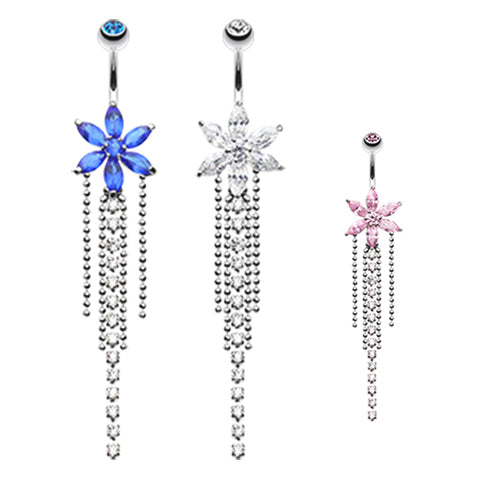 Dangling Belly Ring. Navel Rings Australia. Crystal Bloom Belly Piercing