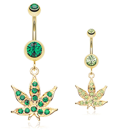 Golden Cannibis Pot Leaf Belly Ring - Dangling Belly Ring. Navel Rings Australia.