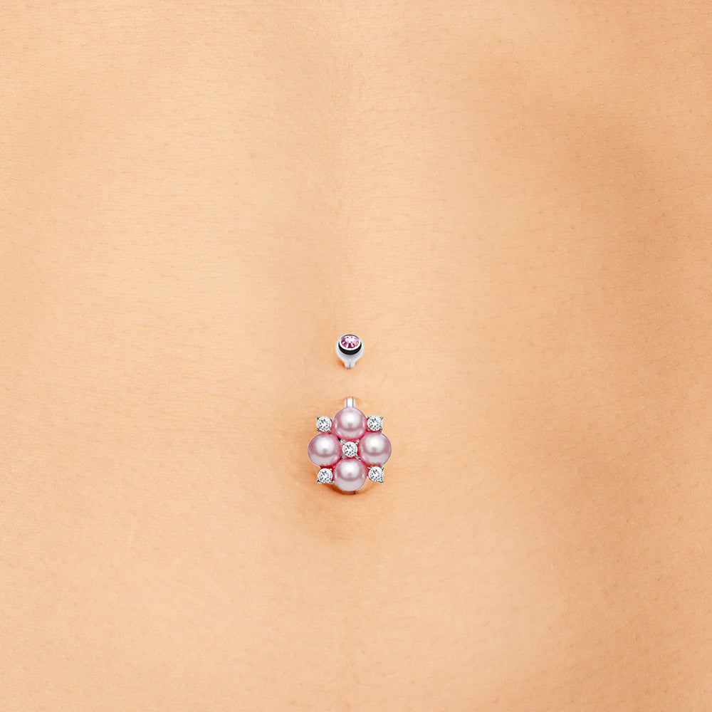 Fixed (non-dangle) Belly Bar. Belly Bars Australia. Luxe Pearl Cluster Belly Ring Jewellery