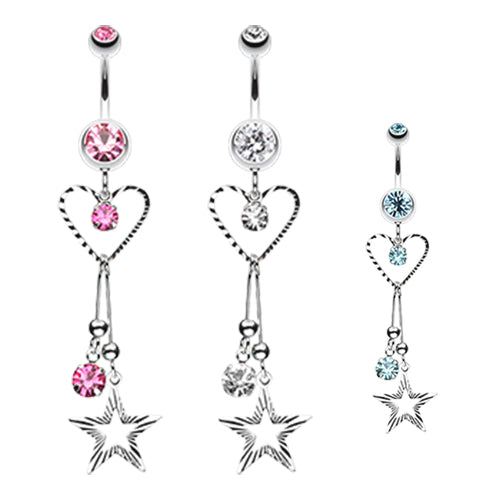 Galaxy of Love Belly Dangle - Dangling Belly Ring. Navel Rings Australia.