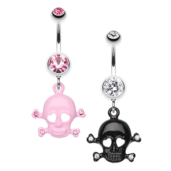 Lovin' You to DEATH Skull Belly Bar - Dangling Belly Ring. Navel Rings Australia.
