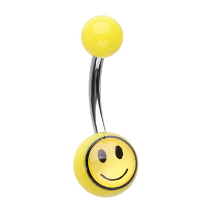 Smiley Face Emoji Acrylic Belly Ring - Basic Curved Barbell. Navel Rings Australia.
