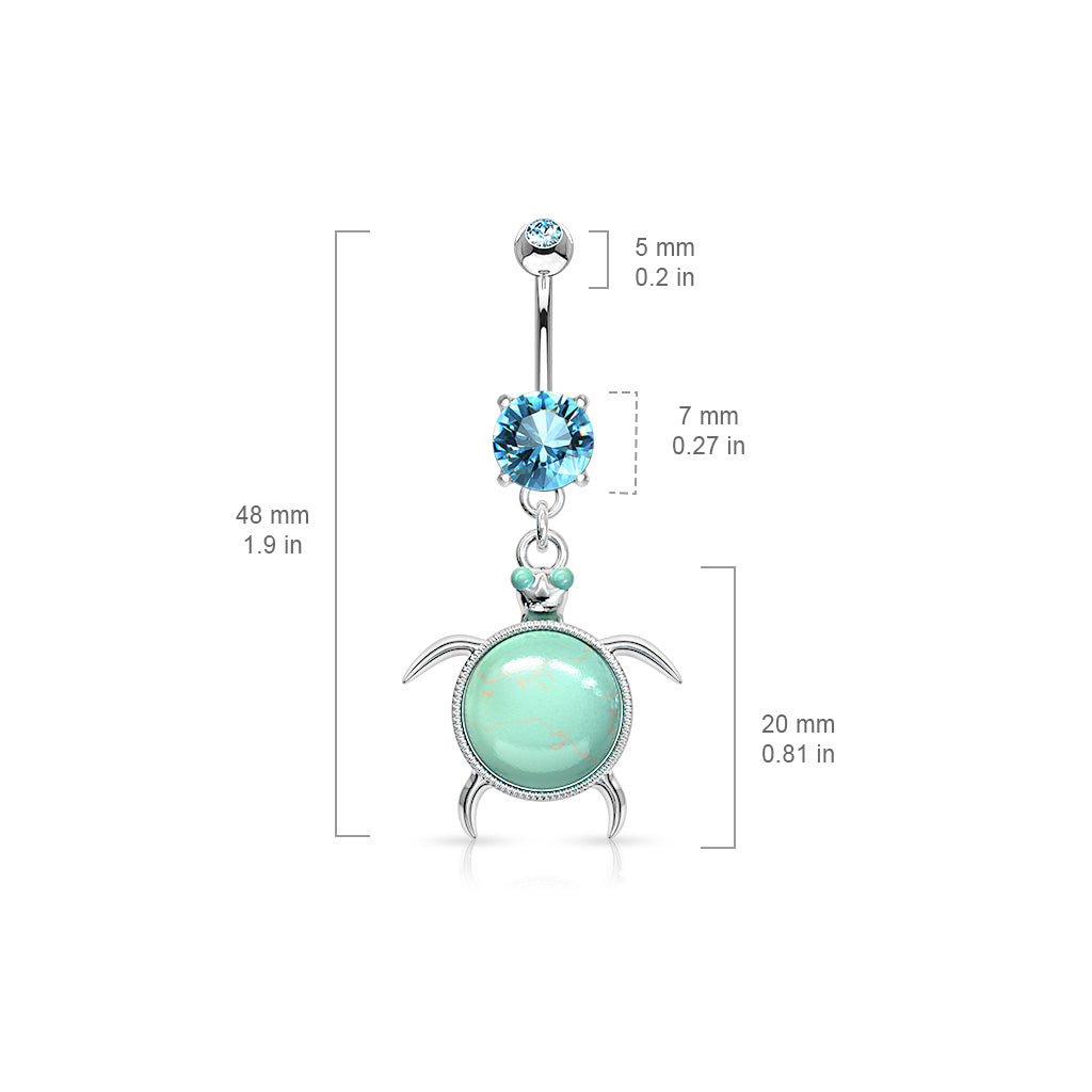 Dangling Belly Ring. Belly Rings Australia. Turquoise Gem Turtle Belly Ring