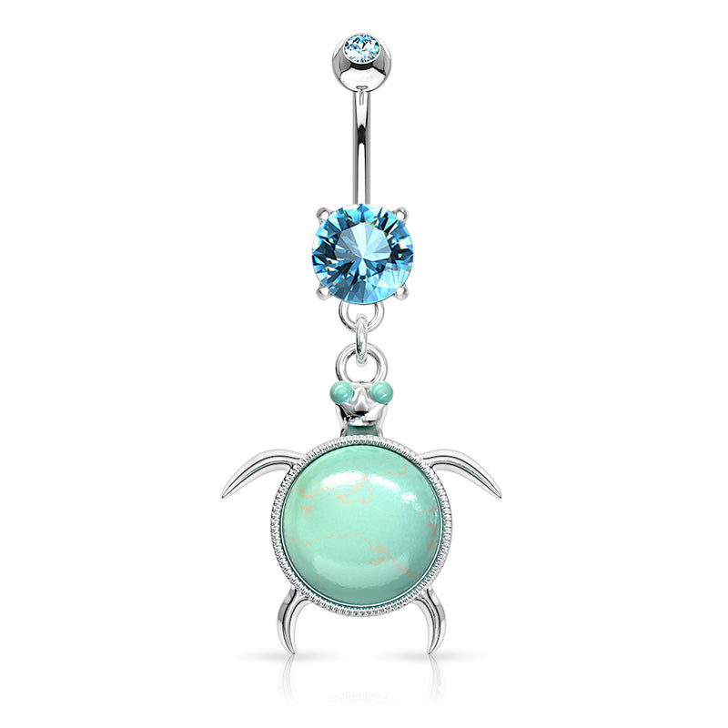 Turquoise Gem Turtle Belly Ring - Dangling Belly Ring. Navel Rings Australia.