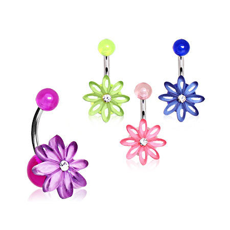 Fixed (non-dangle) Belly Bar. Buy Belly Rings. Daisy Delights Belly Bar