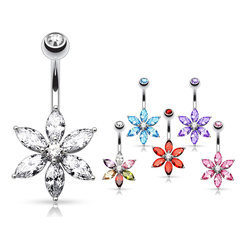 The Classic Daisy Belly Bar - Fixed (non-dangle) Belly Bar. Navel Rings Australia.