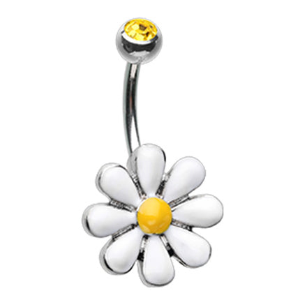 Fixed (non-dangle) Belly Bar. Navel Rings Australia. Farmer Jolliès Daisy Belly Bar
