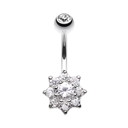 Crystal Daisy Belly Button Ring - Fixed (non-dangle) Belly Bar. Navel Rings Australia.