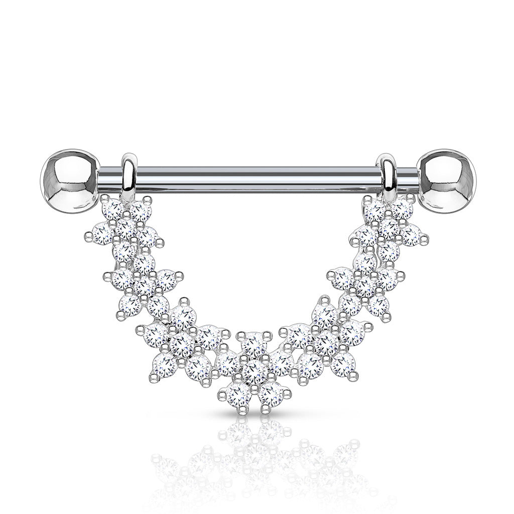 Dai-Dai Daisy Drop Nipple Bar - Nipple Ring. Navel Rings Australia.