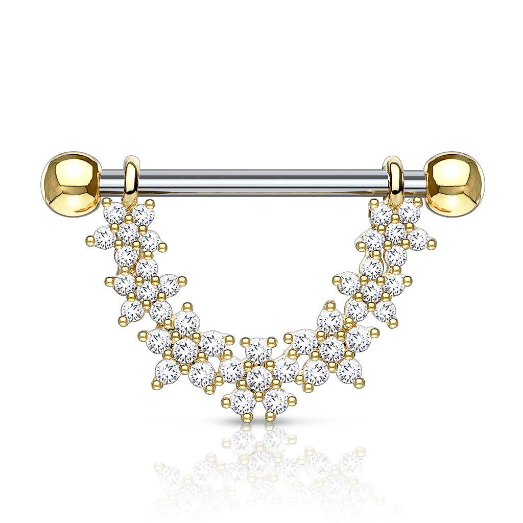 Dai-Dai Daisy Drop Nipple Bar in Gold - Nipple Ring. Navel Rings Australia.