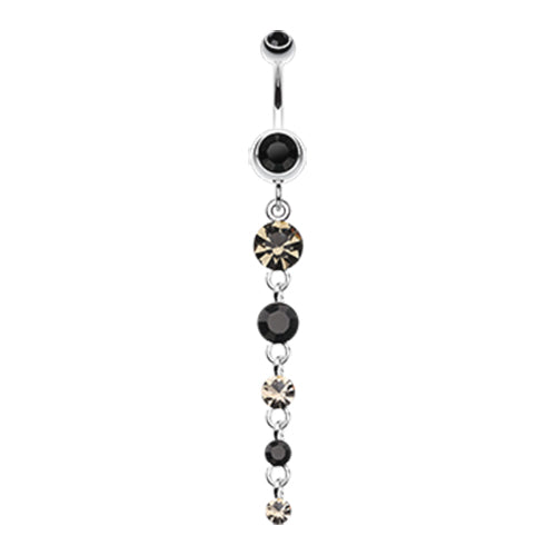 Diamonique Drop Belly Dangle - Dangling Belly Ring. Navel Rings Australia.