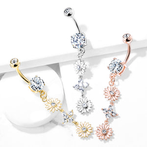 Uniting Daisy Chain Belly Ring in Rose Gold - Dangling Belly Ring. Navel Rings Australia.