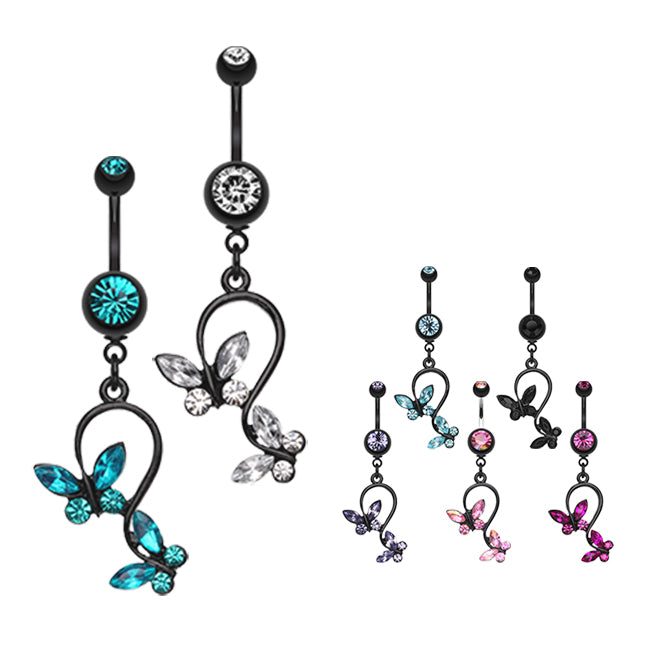 14 GA 1.6mm Blackline Classic Anchor Belly Button Ring - Sold Individually
