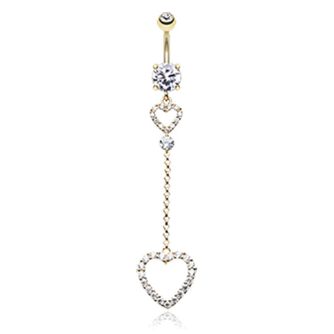 Dangling Belly Ring. Belly Bars Australia. Une Liaison Heart Drop Belly Bar