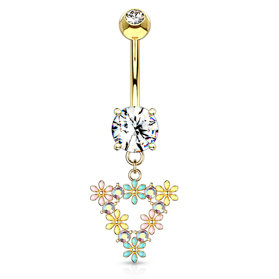 Trinity Matrix Triangle Belly Dangle in Gold - Dangling Belly Ring. Navel Rings Australia.