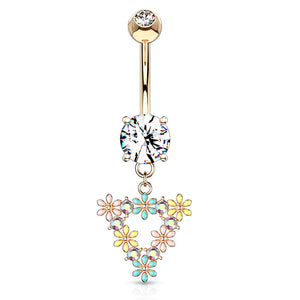 Trinity Matrix Triangle Belly Dangle in Rose Gold - Dangling Belly Ring. Navel Rings Australia.