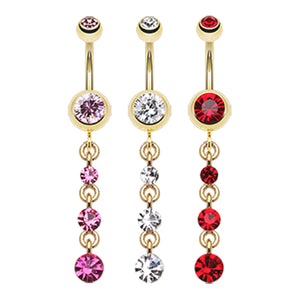 Luciana Golden Journey Belly Bar - Dangling Belly Ring. Navel Rings Australia.