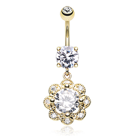 Dangling Belly Ring. Belly Bars Australia. Akali Flower Burst Belly Ring