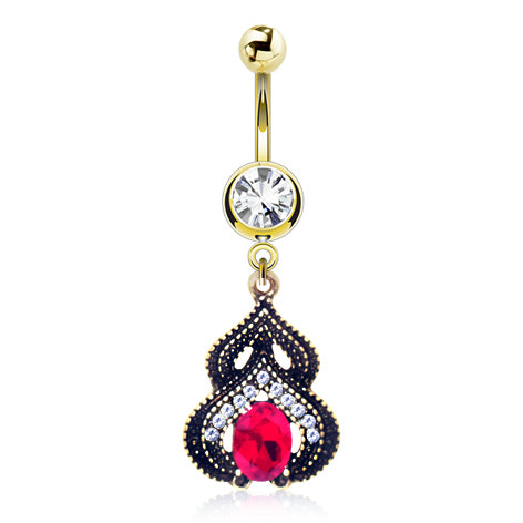 Fixed (non-dangle) Belly Bar. Quality Belly Bars. Arabesque Jewelled Navel Ring