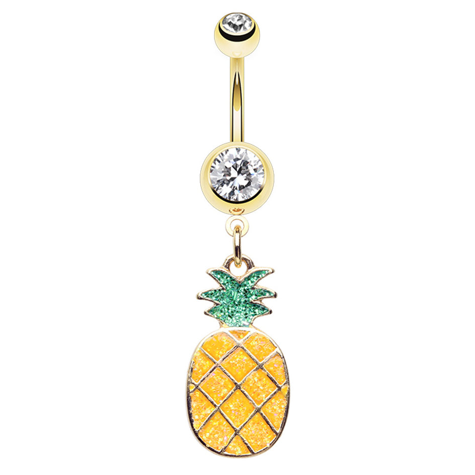 Tropicana Crush Pineapple Belly Dangle - Dangling Belly Ring. Navel Rings Australia.