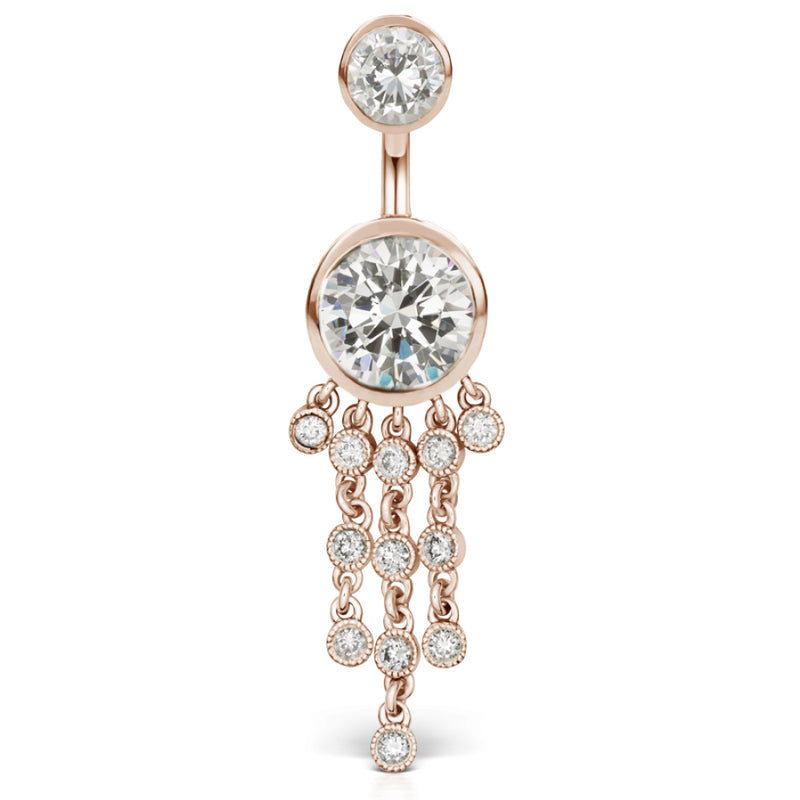 Authentic Maria Tash 14K Rose Gold Cubic Zirconia Belly Ring with Gem Chandelier - Dangling Belly Ring. Navel Rings Australia.