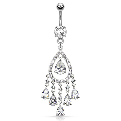 Dangling Belly Ring. Belly Bars Australia. ChaCha Chandelier Belly Dangle