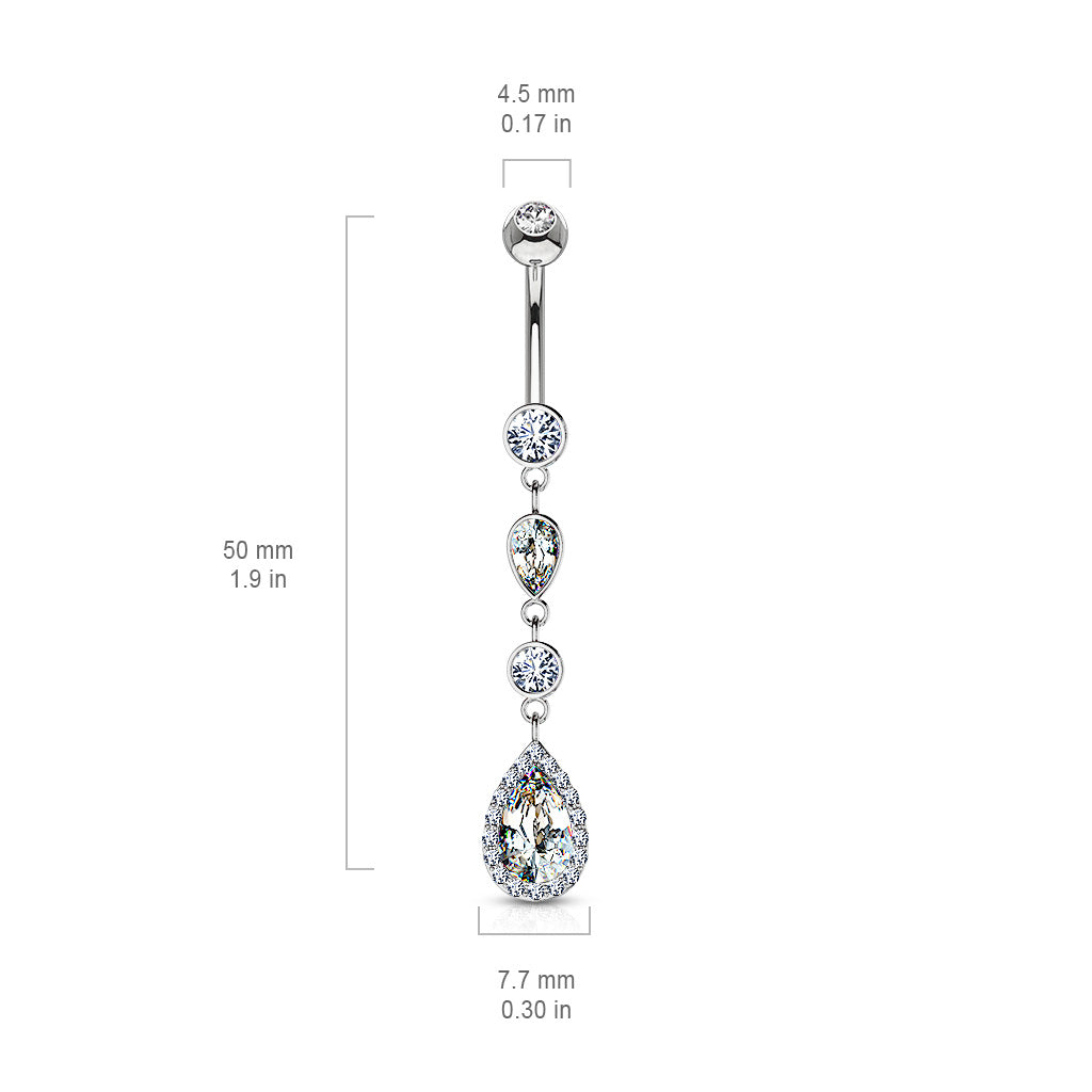Dangling Belly Ring. High End Belly Rings. 14K White Gold Journey Navel Ring