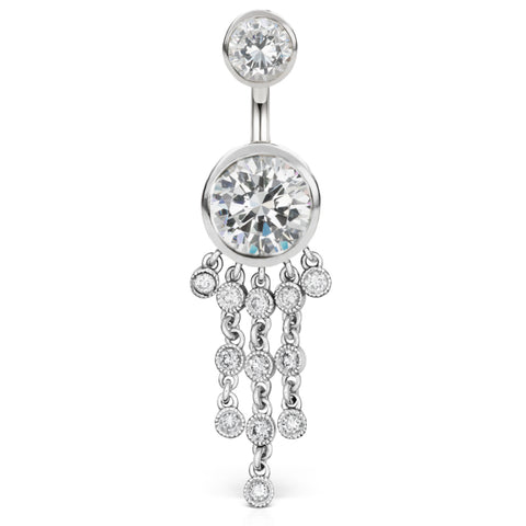 Dangling Belly Ring. Quality Belly Rings. Authentic Maria Tash 14K White Gold Cubic Zirconia Belly Ring with Gem Chandelier