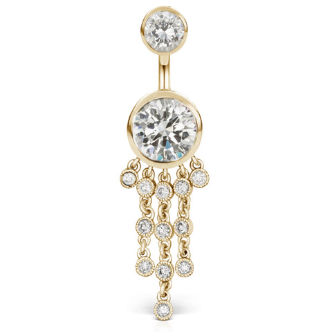 Dangling Belly Ring. Belly Bars Australia. Authentic Maria Tash 14K Yellow Gold Cubic Zirconia Belly Ring with Gem Chandelier
