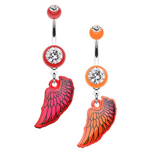 Vivid UV Angel Wing Belly Dangle - Dangling Belly Ring. Navel Rings Australia.
