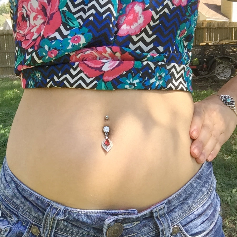Dangling Belly Ring. High End Belly Rings. Ruby Tears Belly Dangle