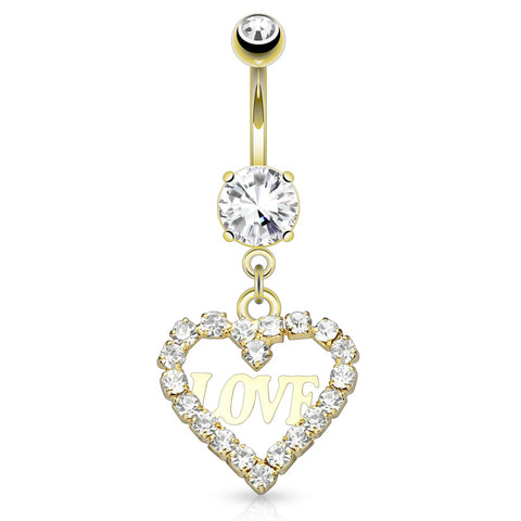 Dangling Belly Ring. Cute Belly Rings. Une Déclaration D'amour Belly Dangle in Gold