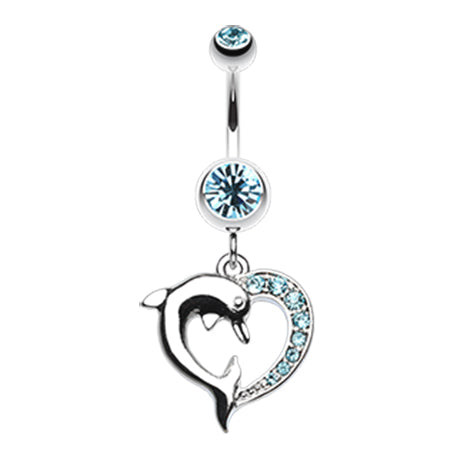 Aquamarine Marine Lovers Dolphin Dangly Belly Ring